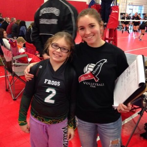 Taylor, with her younger sister, Alli.  We were lucky enough to all be at the same volleyball venue!