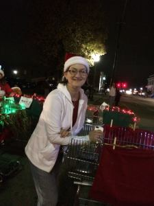 My sister and her parade shopping cart.