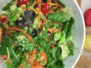 My delicious salad with coconut lime quinoa.  I know you're surprised that it wasn't a cupcake.