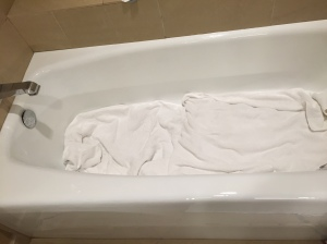 I was so confused as to why anyone would throw towels in the bathtub, but later found out Logan tried to sleep in there!