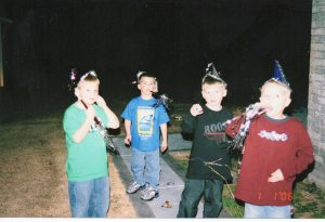 New Year's celebrations several years ago.  Hard to believe they are all driving now!