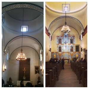 On the left: Mission San Jose sanctuary while I worshiped there in 2009. On the right: the updated sanctuary.  It is so ornate that it doesn't fit in with the simplicity of mission life.
