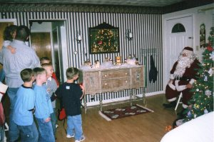 This is a pic from one of our first Christmas gatherings.  Santa came!!