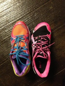 Obligatory Blog Photo The shoe on the left was my FAVORITE shoe of all time.  The one on the right was my then 8 year old's volleyball shoe, which was 1/2 size smaller than mine.