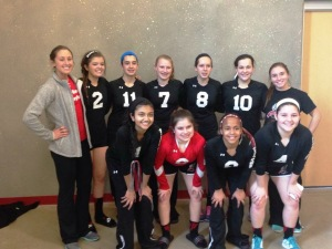 Taylor's team from last year.  YES, these 14 year-olds were all taller than her ;) (She is back row on the right)