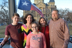 We ate at LSA Burger in downtown Denton after the ceremony. What Texan wouldn't use the billowing flag in the background for a photo opp?