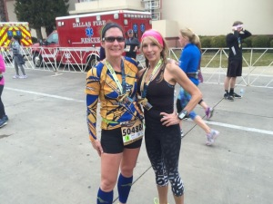 OK...this was AFTER the race - by the time we found each other in the corral, the race was starting!