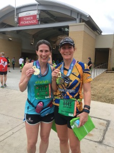 I also managed to find my friend, Rebecca, (on the course no less!) who has quickly become one of my favorite running friends!