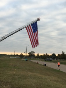 This race benefited local police and fire departments. The fire department hung this flag over the finish line!